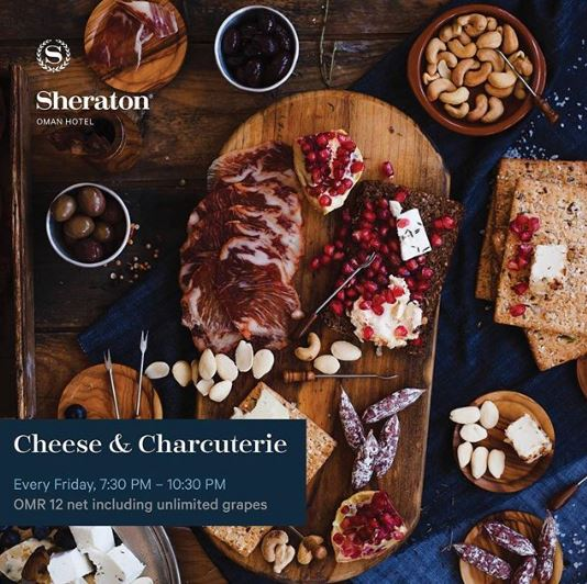 Meet the best combination of smoked cold cuts, international cheese and unlimited grapes galore in our open-air terrace at the Courtyard restaurant. Every Friday, 7:30 PM – 10:30 PM OMR 12 net per person including unlimited grapes For booking, please call +96822377777 or email info.oman@sheraton.com